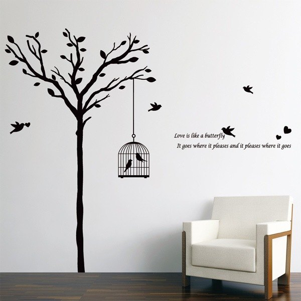 Smart Design Creative wall stickers Incognito ◆) cage and tree (8 colors)