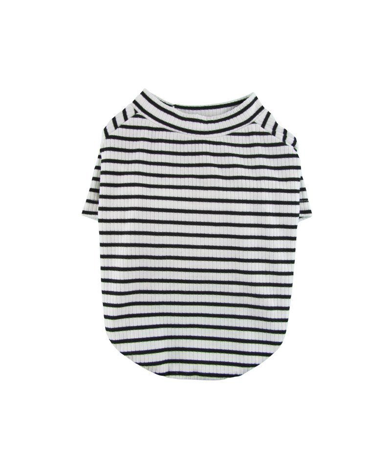 White & Black Stripe 4X2 Rib Knit Tee, Dog Top, Dog T-shirt