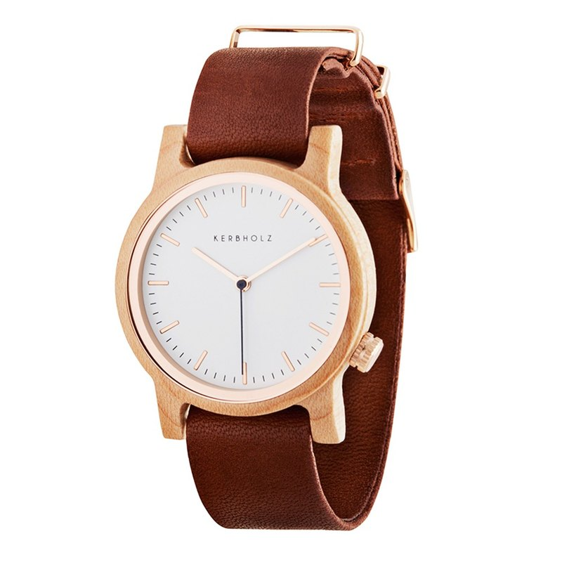 KERBHOLZ-Wood Watch-WILMA-Maple-Cognac Brandy (Neutral) (35mm)