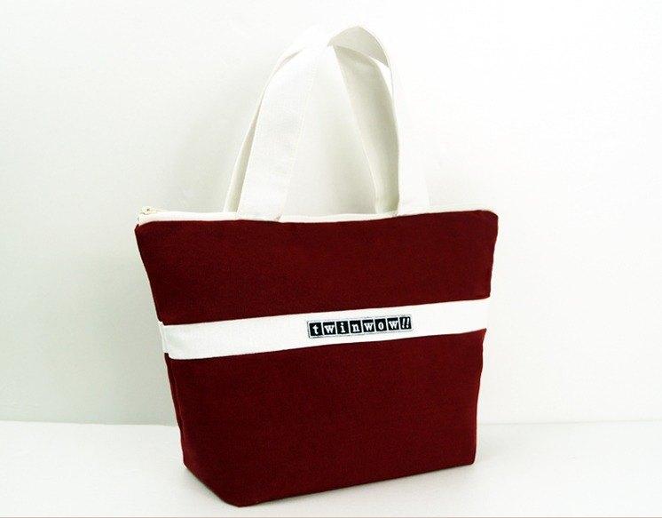 優美典雅 - 細緻質感手提包 - 栗酒紅白