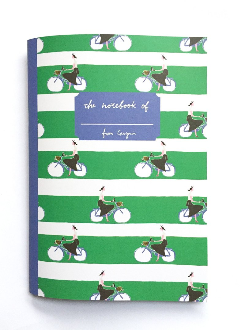 Grid Notebook | Bicycle Girl A5 Notebook wit Green and White Stripes Pattern