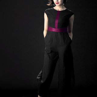 [品祥云纱] 2018 new power spinning embryo cloth silk yarn jumpsuit original wind pants black rose