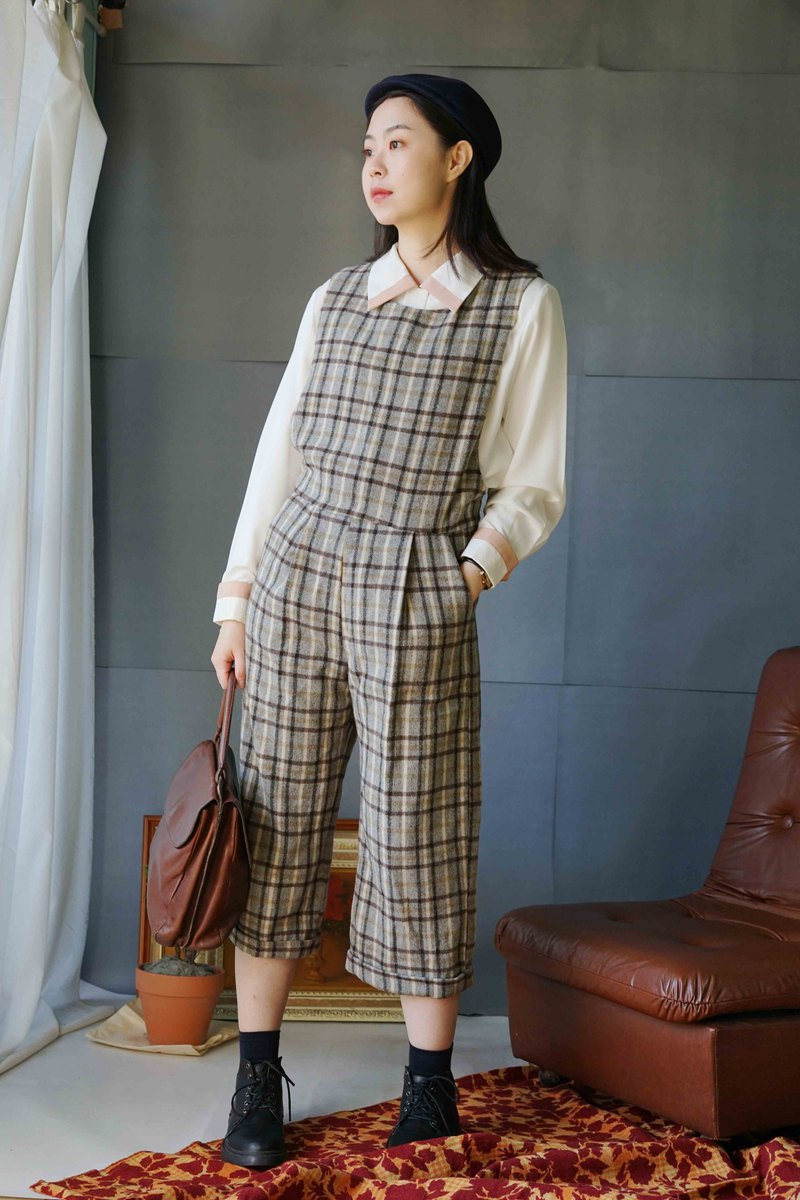 Design Handmade-Sherlock Holmes Retro Coffee Plaid Little Boy Discount Eighth Jumpsuit