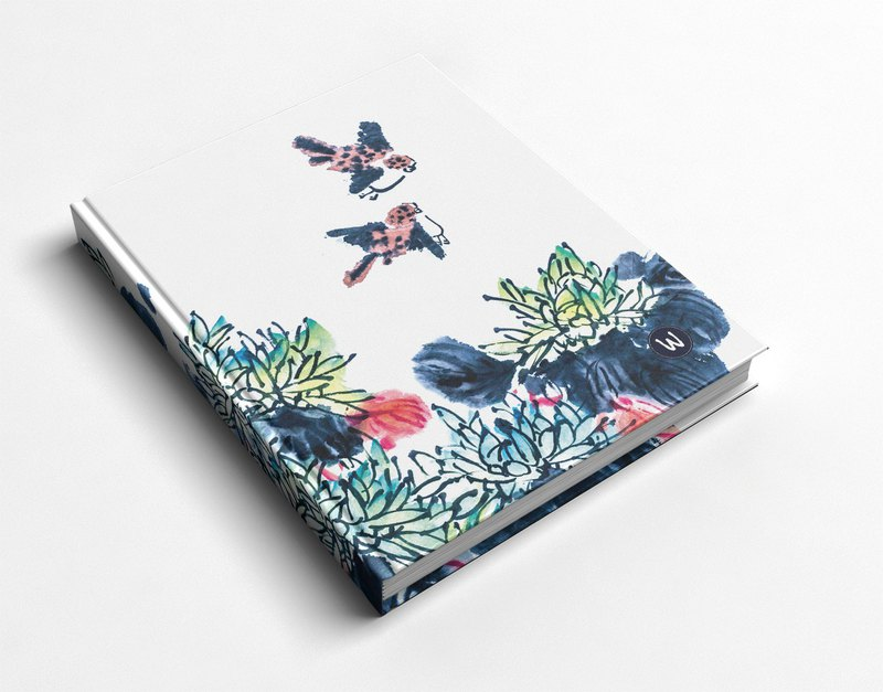 Blue hand-painted forest handmade book / notebook / PDA / diary - Rococo strawberry WELKIN gift