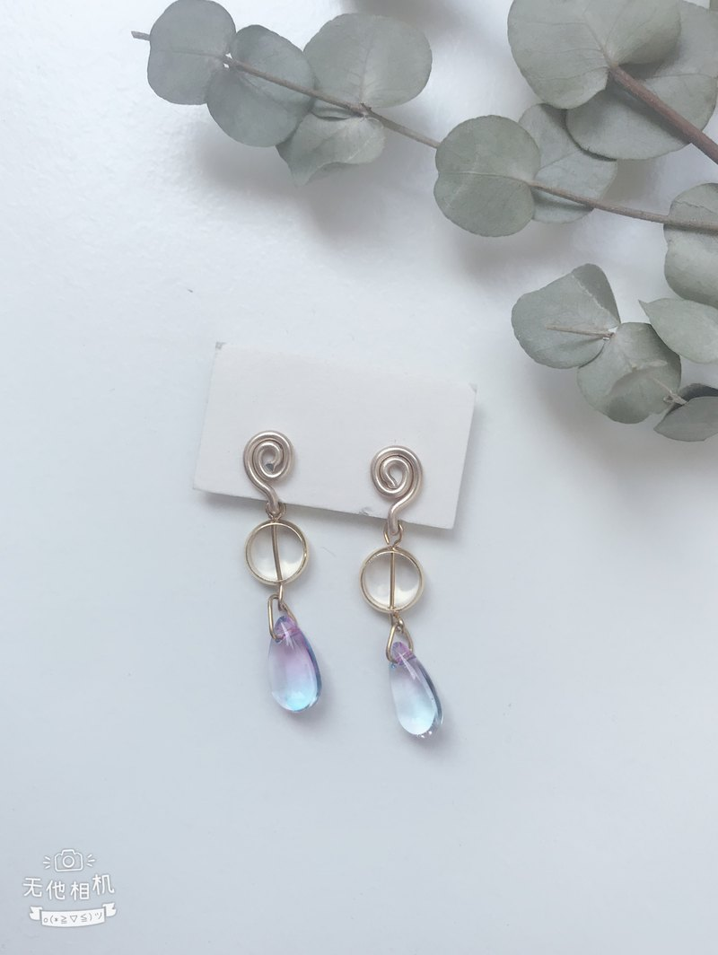 Painless aluminum wire ear clip - crystal clear water elf
