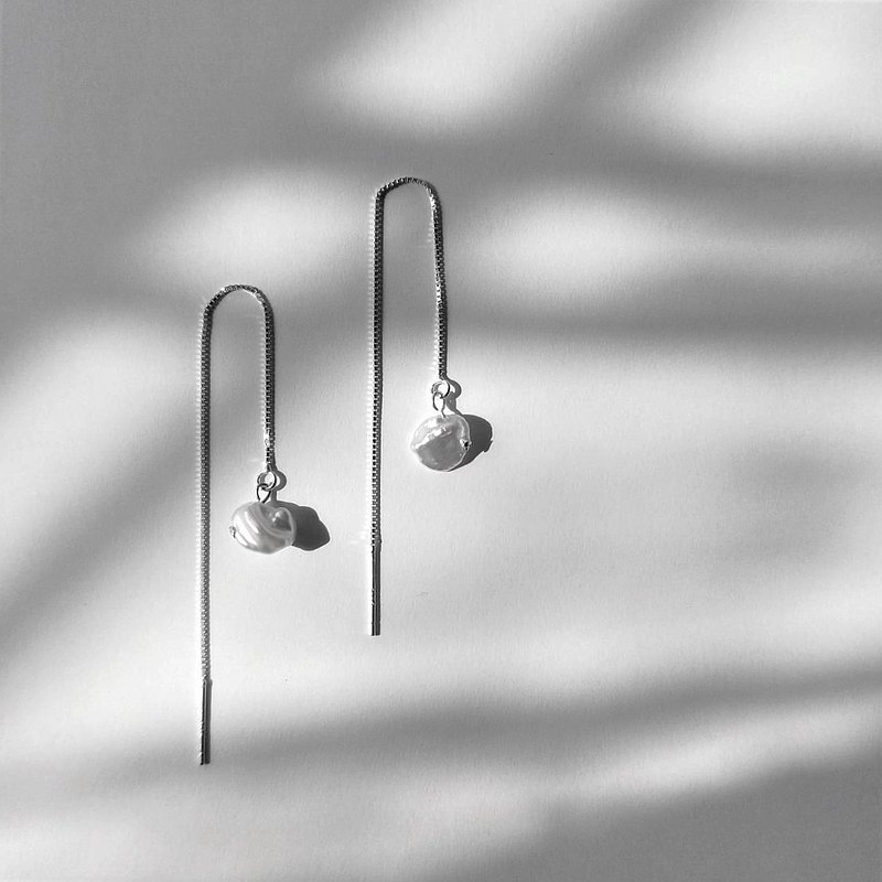│Light luxury│ Irregular pearl earrings • earrings • pure silver earrings