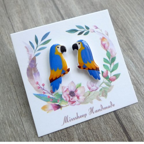 Misssheep-U20- Take me home blue parrot hand earrings (ear pin / transparent ear clip)