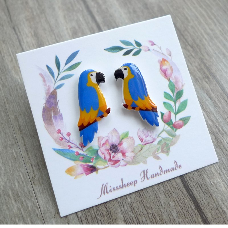 U20-Take me home blue parrot hand earrings (ear pin / translucent transparent ear clip)