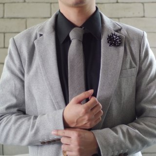Neck Tie Grey Jean Wool