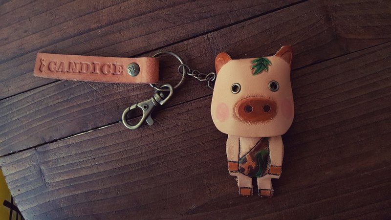 Cute jungle Taishan pig pure leather key ring can be lettering (lover, birthday gift)