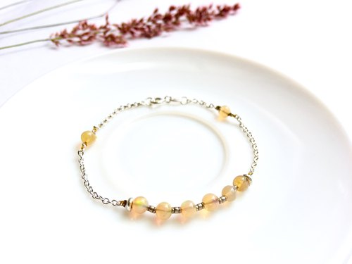 Ops Opal Gemstone Silver Simple Bracelet