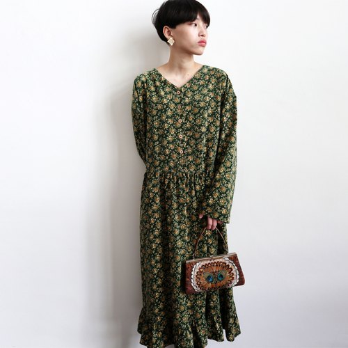 Pumpkin Vintage. Vintage Corduroy Floral Thick Dress