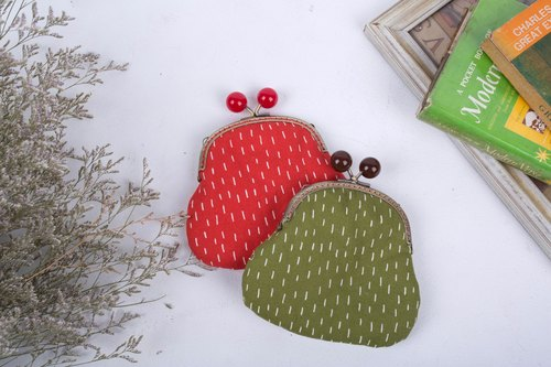 Christmas red / vintage green / gold package / purse / bag / cosmetic bag / Christmas gift / exchange gift