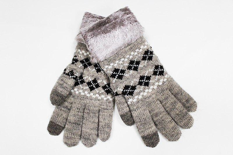 [Winter ceremony] touch control knit gloves skin brown cross Lingge limited models