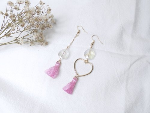 Uneven Crystal Heart Earrings with Tassels