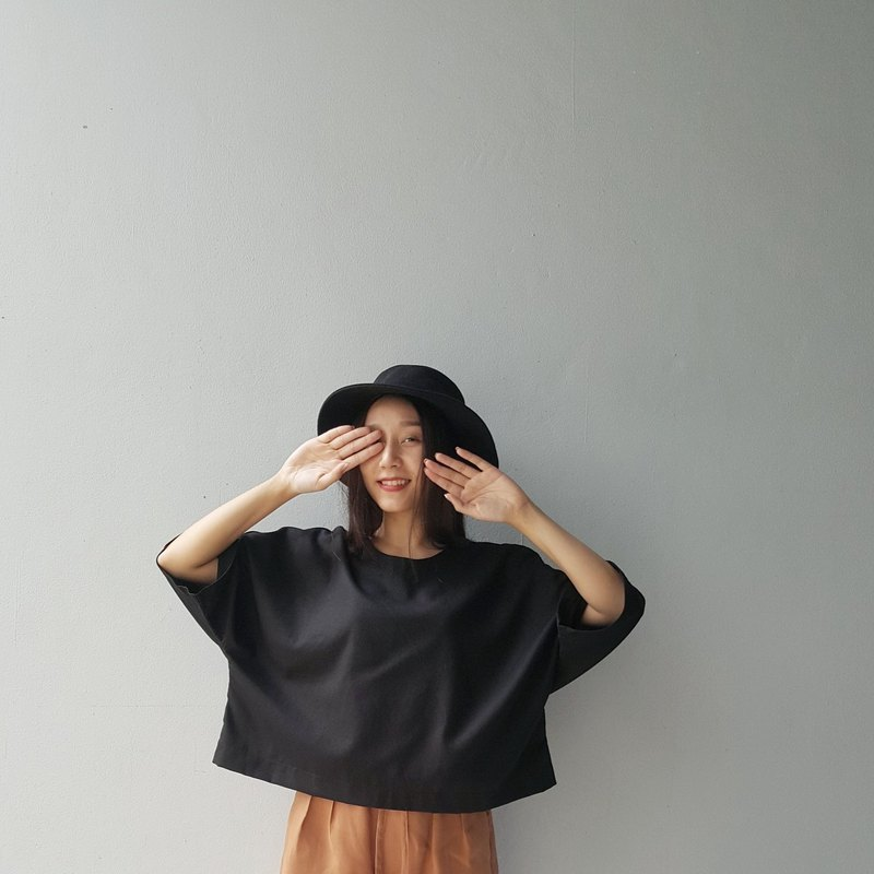 Linen loose top - Black