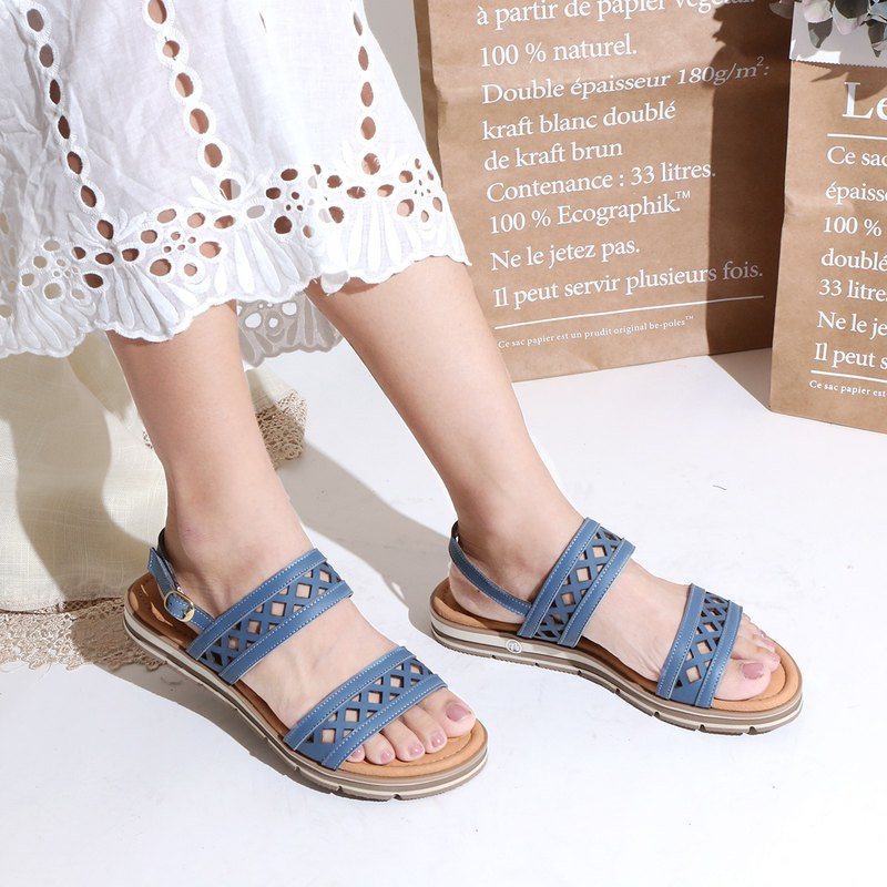 Leather sandals 2cm thick thick lightweight outsole geometry laser carved thick Q high density latex pad (P705)