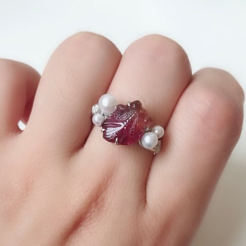 Sterling silver Tourmaline pearl Ring