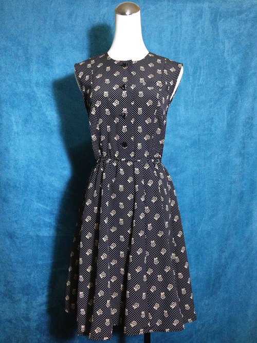 Ping pong ancient [ancient dress / flowers little sleeveless dress] foreign bring back VINTAGE