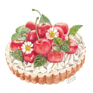Original Watercolour Painting (A5) - Cherry Tart Dessert