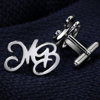 Monogram Cufflinks - Personalized Cufflinks for groom - Initials Cufflinks