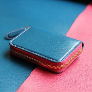 From One leather zipper bag blue blue x pink (limited)