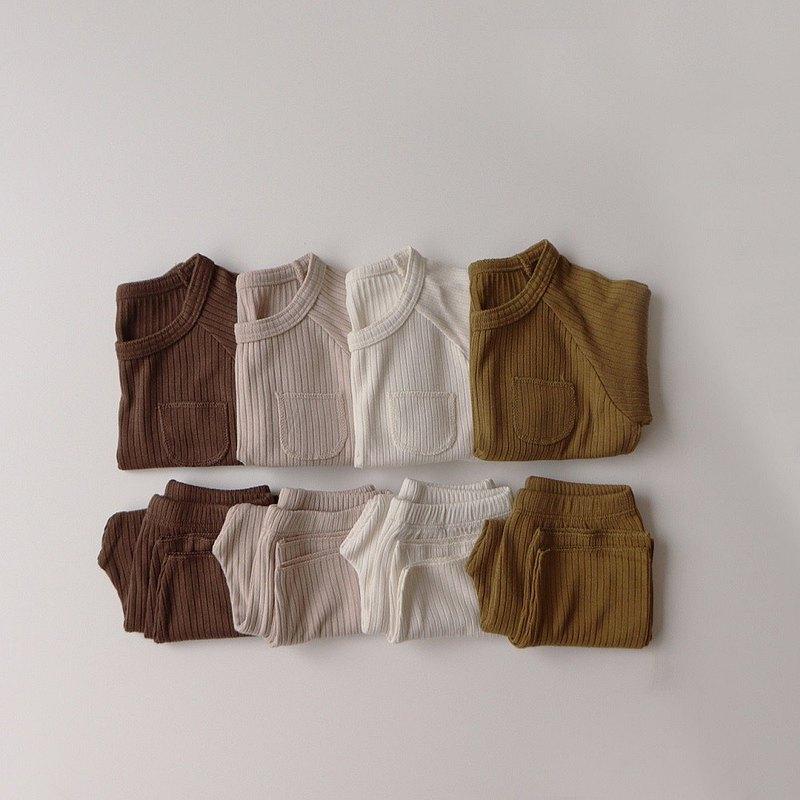 韓國秋冬羅紋小口袋家居服套裝 •Pocket Set•