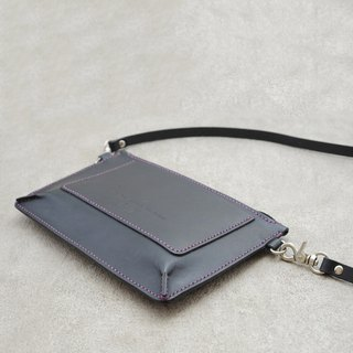 Be Two ∣ black vegetable tanned leather handmade bag / side back / shoulder bag / pouch / portable bag