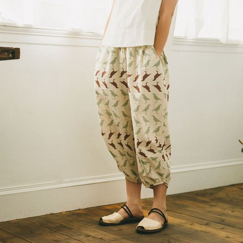 Arabian Trouser / Crested Myna No.5 / Linen Green and Brown