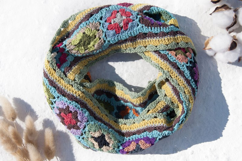 Hand Crocheted Scarf / Crocheted Scarf / Handmade Flower Woven Scarf / Cotton Woven-English Forest Flowers