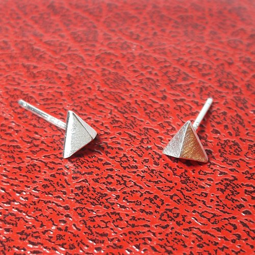Triangle three-dimensional tea bag 925 sterling silver earrings (boxed) boyfriend dedicated