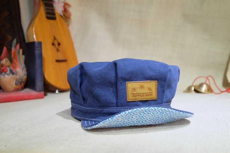 NEWS BOY Cap (Canvas Royal blue/Traditional fabric diamond blue)