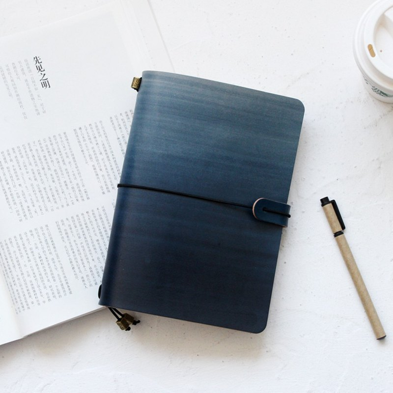 Mountain sea blue leather hand book leather notebook / diary / travel book / notebook can be customized