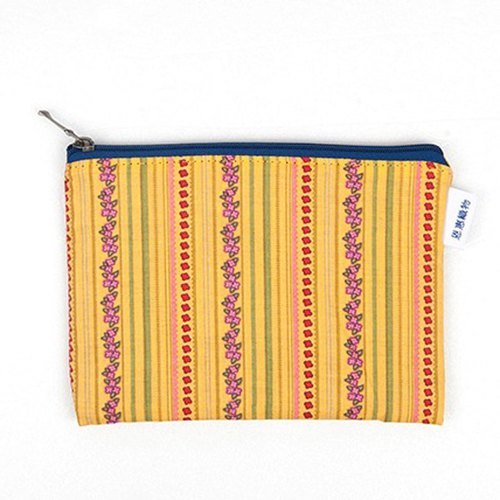 은 혜 직 물 pouch / Yellow flower stripe zipper bag S (13x9cm)