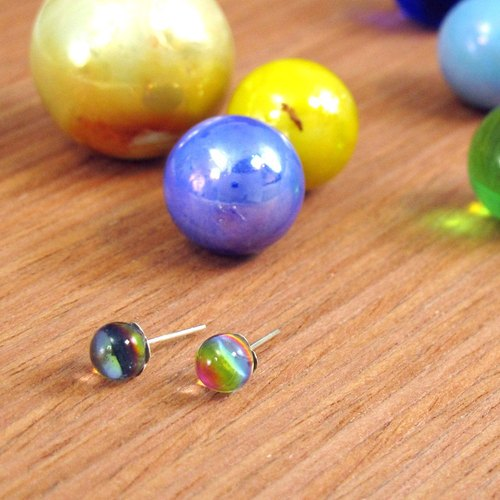 Colorful Planet 925 Silver Earrings (Large)