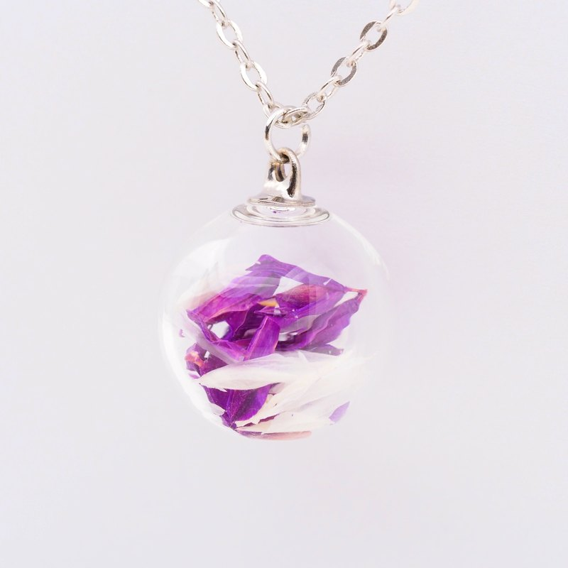 「OMYWAY」Dried Flower Necklace - Glass Globe Necklace 1.4cm