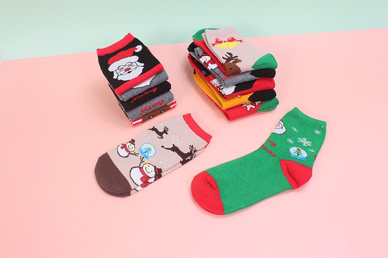 Christmas theme socks-straight socks, 1/2 socks
