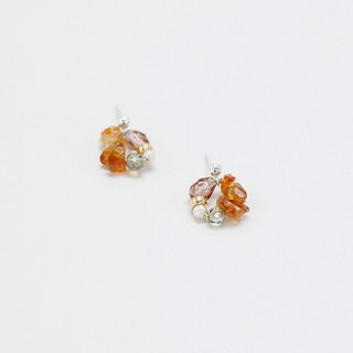 Limited Colour Citrine Pearl Crystal Gemstone Silver Earrings