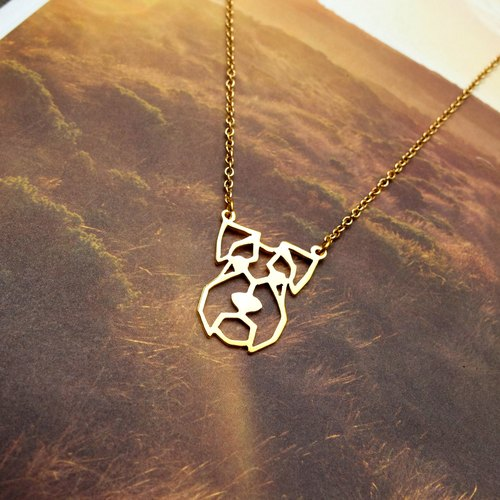 Schnauzer, Geometric, Dog Necklace, Pet Jewelry, Gold Plated Necklace, Dog gifts