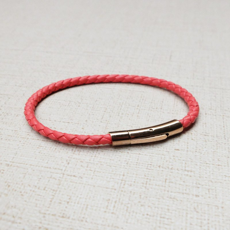 European made leather braided bracelet (coral red braided leather + rose gold stainless steel fasteners) Lok hand made in Europe jewelry