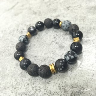 [崆峒]Natural Stone Beads Bracelet Volcanic Stone Alabaster Black Agate Custom Metal Beads