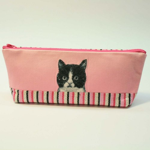 Embroidery Pencil Bag 13 - Black and White Cat