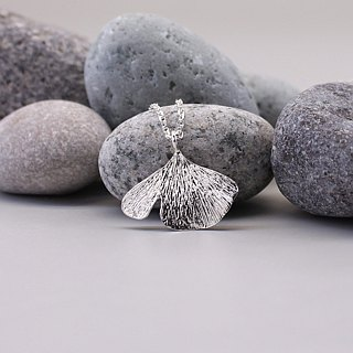 Gingko Leaf Silver Necklace - Nature Plant