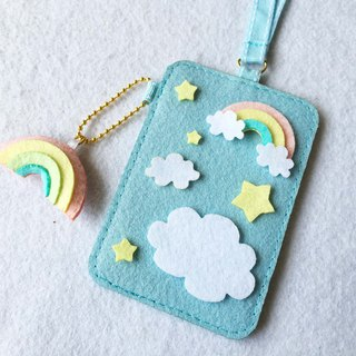 Blue sky card holder with neck strap and keychain.