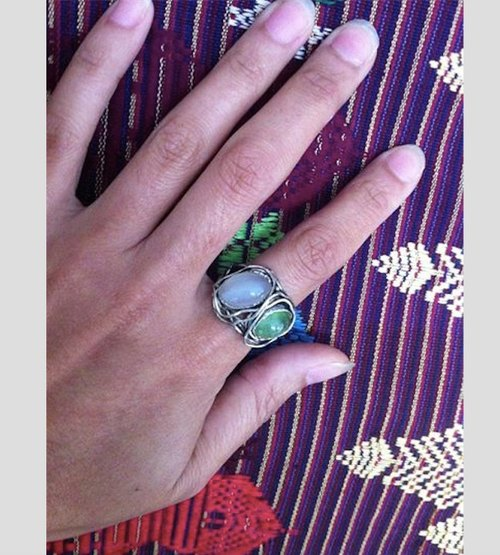 Olivine + white striped agate silver ring