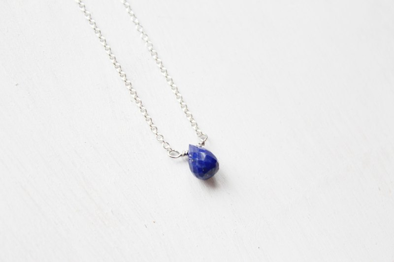 SEPTEMBER 9-birthstone-Lapis lazulilucky clavicle silver necklace  (adjustable)
