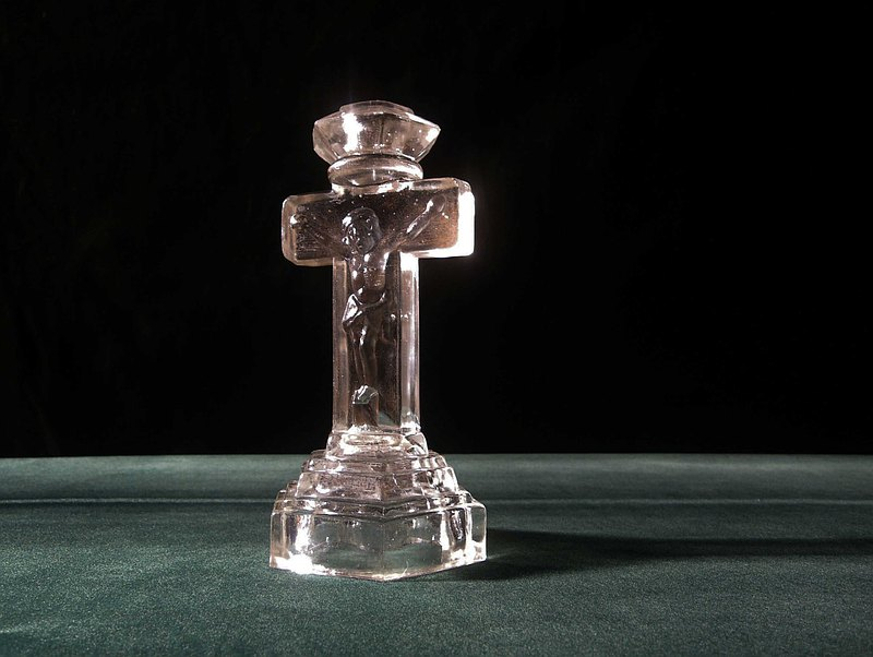 [OLD TIME] Early Glass Jesus Candlestick