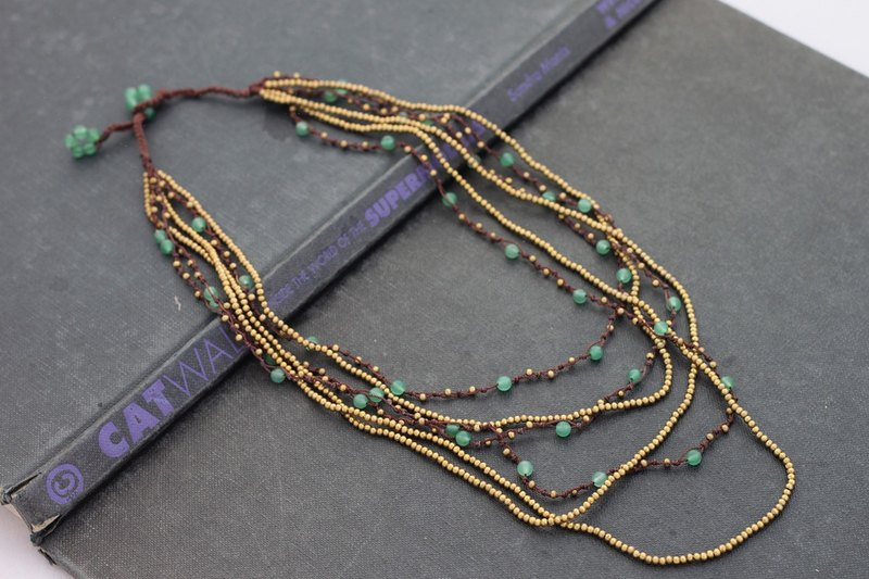 Jade Layered Six Strand Woven Necklace Stone Woven