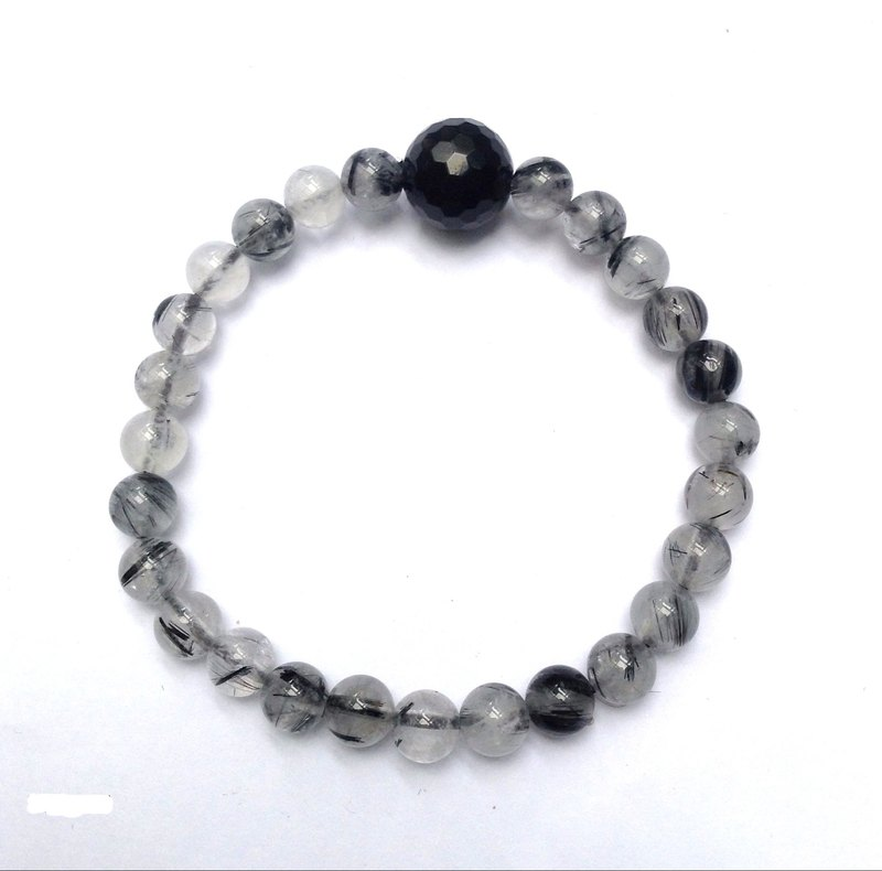 BR0261 - Natural Gemstone Bracelet / Bracelet - Design and Produce - Natural Black Onyx & Black Crystal
