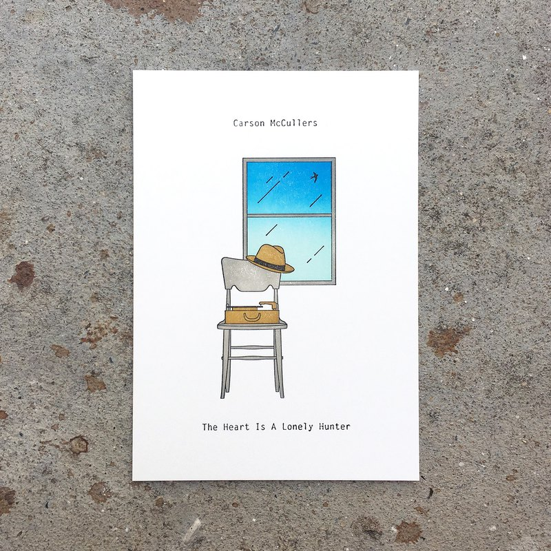 The Heart is A Lonely Hunter (Blue) : Limited Edition Letterpress Card